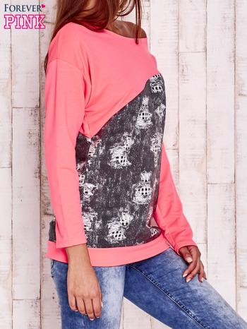 Fluoróżowa bluza oversize z szarą wstawką                                  zdj.                                  3