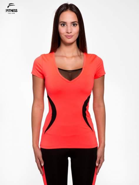Fluoróżowy termoaktywny t-shirt sportowy z siateczką przy dekolcie ♦ Performance RUN                              zdj.                              1