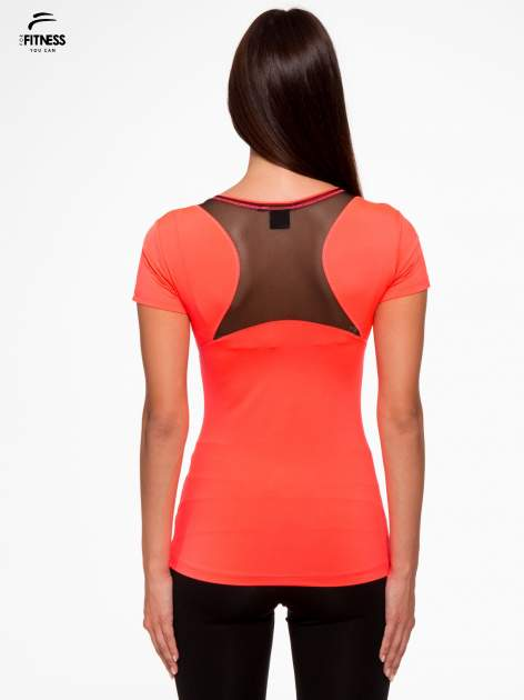 Fluoróżowy termoaktywny t-shirt sportowy z siateczką przy dekolcie i z tyłu ♦ Performance RUN                                  zdj.                                  4