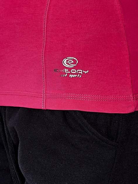 Fuksjowa bluzka sportowa z dekoltem V                                  zdj.                                  6