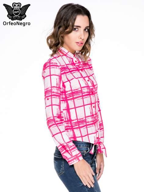 Fuksjowa koszula w kratę wiązana na dole                                  zdj.                                  3
