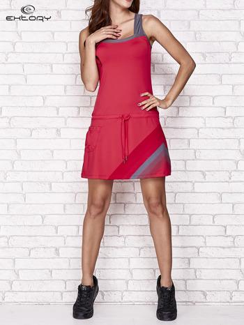Fuksjowa sukienka sportowa z szarymi wstawkami                                  zdj.                                  5