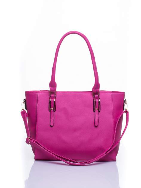 Fuksjowa torba shopper bag z odpinanym paskiem                                  zdj.                                  1