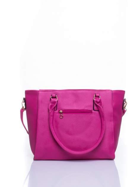 Fuksjowa torba shopper bag z odpinanym paskiem                                  zdj.                                  2