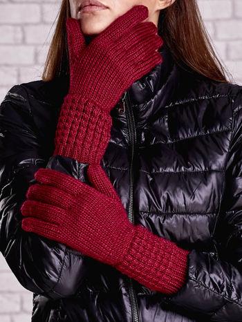 Fuksjowe długie rękawiczki z fantazyjnym ściągaczem                                  zdj.                                  1