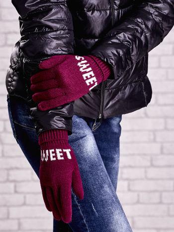 Fuksjowe rękawiczki z napisem SWEET i z wywijanym ściągaczem                                  zdj.                                  3