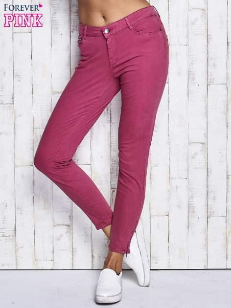 Fuksjowe spodnie z suwakami na nogawkach                              zdj.                              1