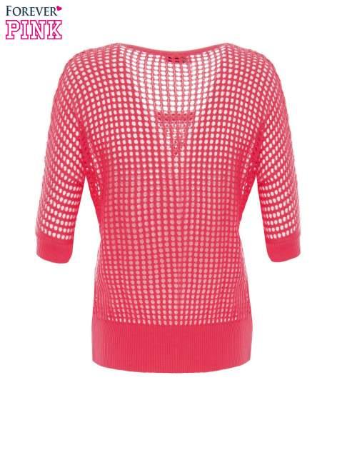 Fuksjowy ażurowy sweter oversize                                  zdj.                                  7