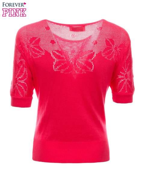 Fuksjowy sweter z ażurową górą i krótkim rękawkiem                                  zdj.                                  8
