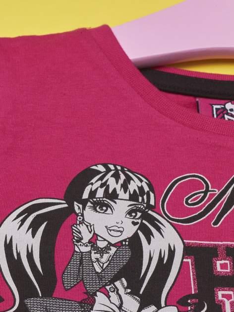 Fuksjowy t-shirt dla dziewczynki MONSTER HIGH z brokatowym nadrukiem                                  zdj.                                  3