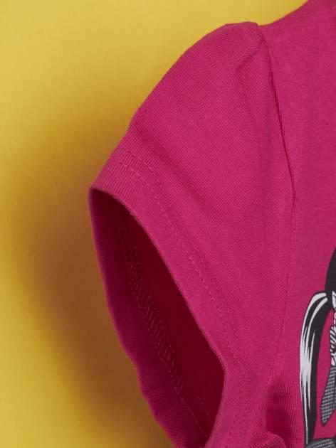 Fuksjowy t-shirt dla dziewczynki MONSTER HIGH z brokatowym nadrukiem                                  zdj.                                  5