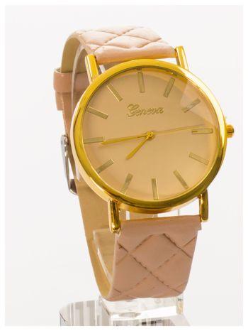 GENEVA Beżowy zegarek damski na pikowanym pasku