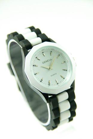 GENEVA Bialo-czarny zegarek damski na silikonowym pasku                                   zdj.                                  1