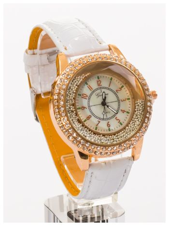 GENEVA Biały damski zegarek na pasku ze skóry lakierowanej