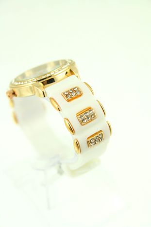 GENEVA Biały zegarek damski z cyrkoniami na silikonowym pasku                                  zdj.                                  3