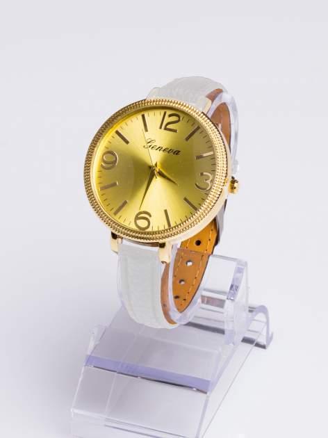 GENEVA Biały zegarek damski z dużą tarczą na wąskim pasku