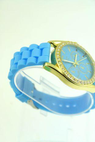 GENEVA Błękitny zegarek damski z cyrkoniami na silikonowym pasku                                  zdj.                                  2