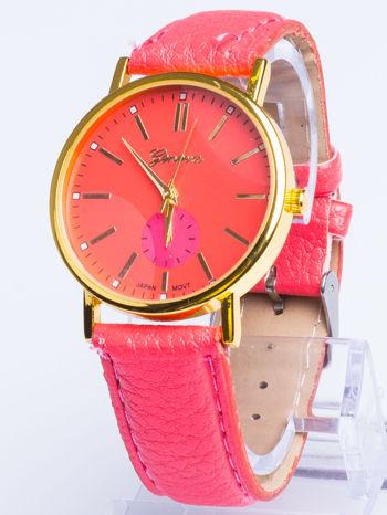 GENEVA Ciemnoróóżowy zegarek damski na skórzanym pasku