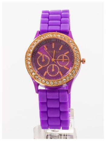 GENEVA Fioletowy zegarek damski z cyrkoniami na silikonowym pasku                                  zdj.                                  1
