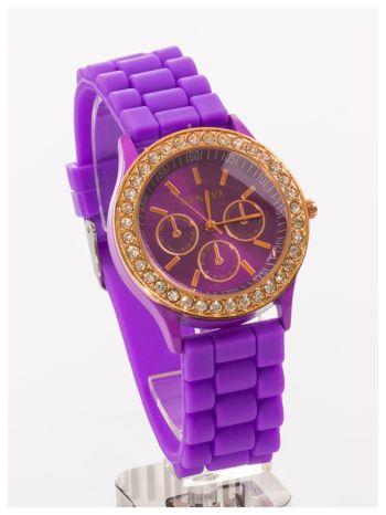 GENEVA Fioletowy zegarek damski z cyrkoniami na silikonowym pasku                                  zdj.                                  3