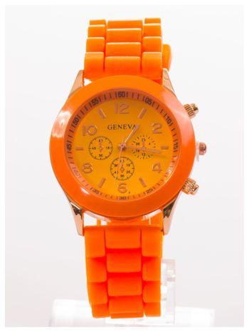 GENEVA Pomarańczowy zegarek damski na silikonowym pasku