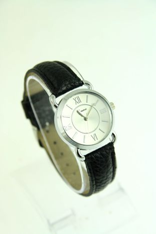 GENEVA Srebrny zegarek damski na czarnym, skórzanym pasku