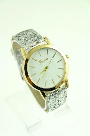 GENEVA Srebrny zegarek damski na skórzanym pasku z cekinami