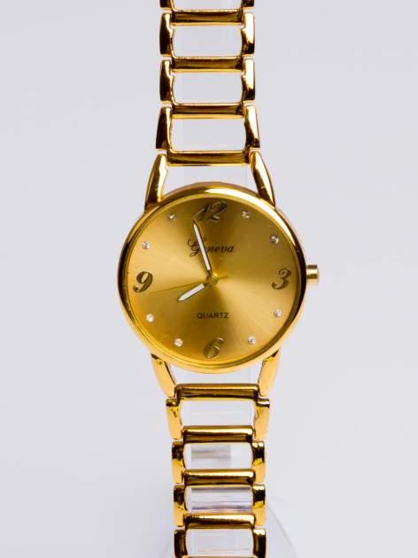 GENEVA Złoty gustowny  zegarek damski na złotej bransolecie                                  zdj.                                  3