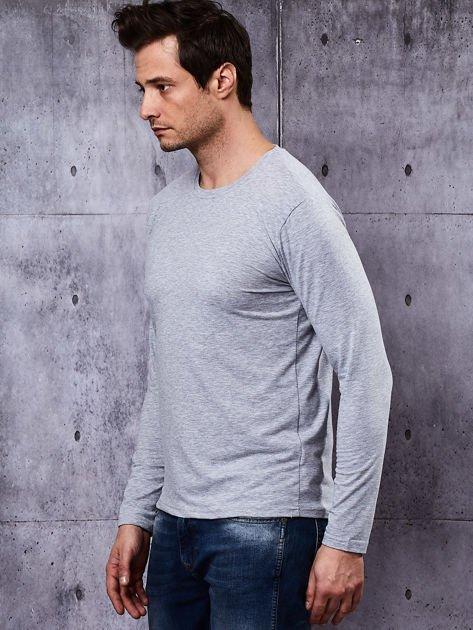 Gładka bluzka męska szara z długim rękawem                              zdj.                              4