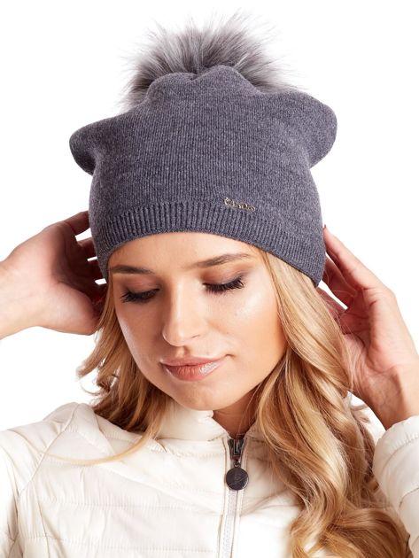 Gładka czapka beanie z pomponem i ściągaczem ciemnoszara