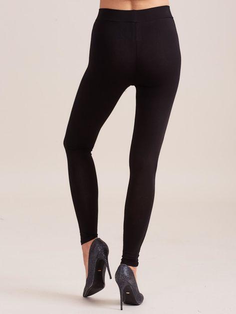 Gładkie czarne legginsy damskie                              zdj.                              2