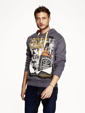 Grafitowa bluza męska z kapturem z motywem whiskey                                  zdj.                                  1