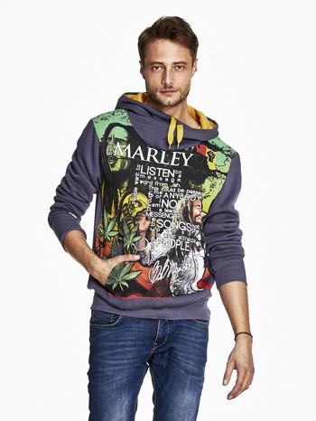 Grafitowa bluza męska z kapturem z nadrukiem reggae                                  zdj.                                  1