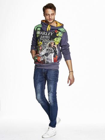Grafitowa bluza męska z kapturem z nadrukiem reggae                                  zdj.                                  4