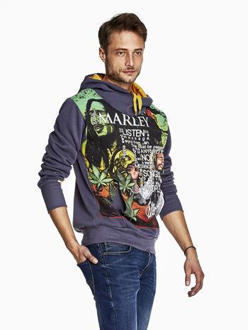 Grafitowa bluza męska z kapturem z nadrukiem reggae                                  zdj.                                  3