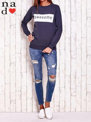 Grafitowa bluza z napisem AWESOME                                  zdj.                                  2