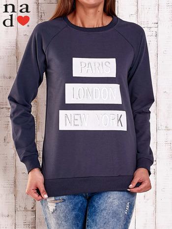 Grafitowa bluza z napisem PARIS LONDON NEW YORK                                  zdj.                                  1