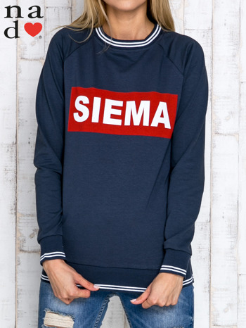 Grafitowa bluza z napisem SIEMA