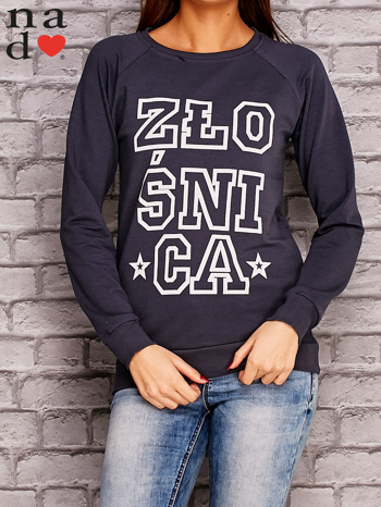 Grafitowa bluza z napisem ZŁOŚNICA                                  zdj.                                  1
