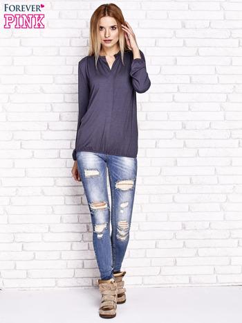 Grafitowa bluzka ze ściągaczem na dole                                  zdj.                                  2