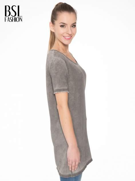 Grafitowa sukienka typu t-shirt bluzka z efektem dekatyzowania                                  zdj.                                  3