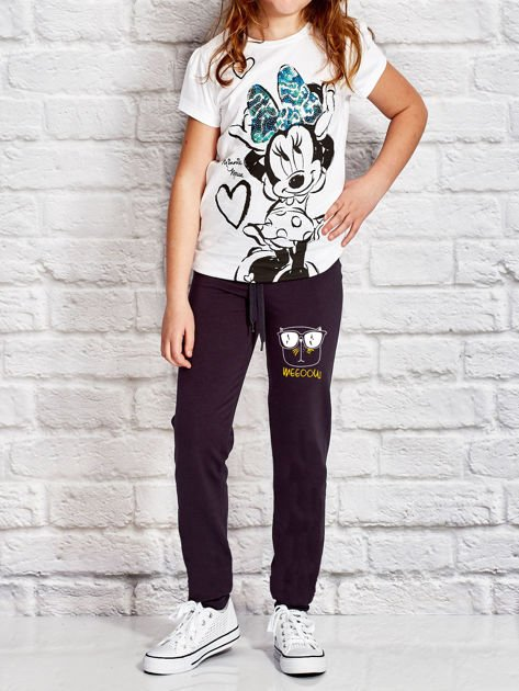 Grafitowe spodnie dresowe dla dziewczynki z napisem WEEOOW                                  zdj.                                  4