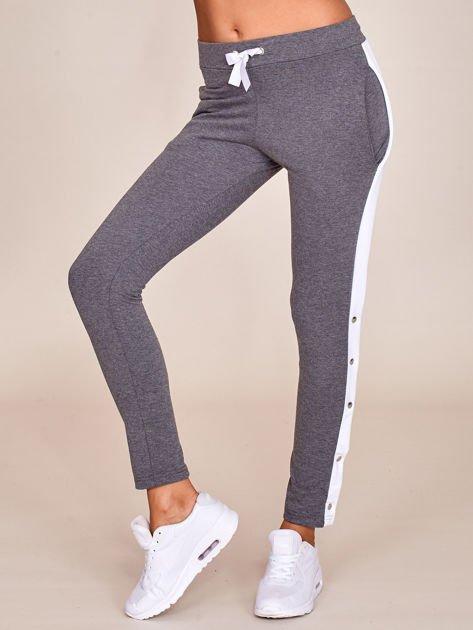 Grafitowe spodnie dresowe z rozpinanymi nogawkami na napy                              zdj.                              1