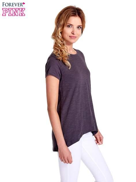 Grafitowy jednolity t-shirt                                  zdj.                                  3