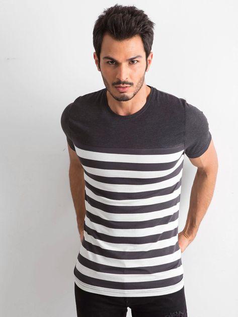 Grafitowy męski t-shirt w paski                              zdj.                              1
