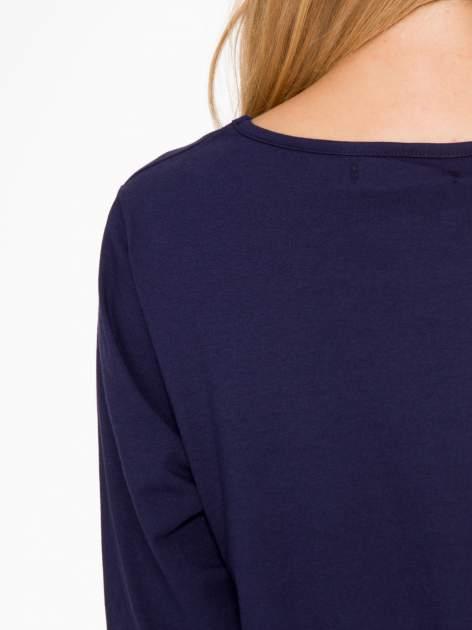 Granatowa basicowa bluzka z rękawem 3/4                                  zdj.                                  9