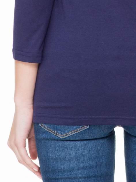 Granatowa basicowa gładka bluzka z rękawem 7/8                                  zdj.                                  6