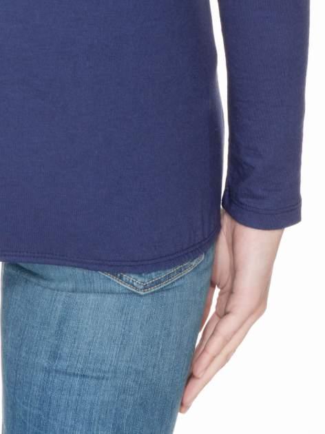 Granatowa bawełniana bluzka z gumką na dole                                  zdj.                                  6