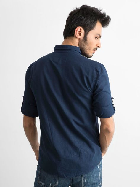 Granatowa bawełniana koszula męska                               zdj.                              2