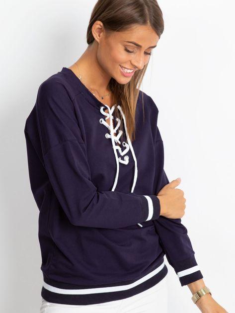 Granatowa bluza damska lace up                              zdj.                              3